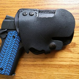 SA  Champion LW 9mm in a Fist Driving Holster w/LOK Grips